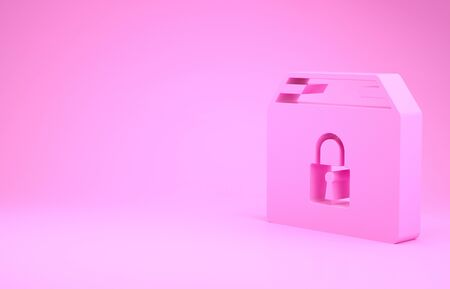 Pink Locked package icon isolated on pink background. Lock and cardboard box. Minimalism concept. 3d illustration 3D render