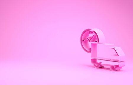 Pink Logistics delivery truck and clock icon isolated on pink background. Delivery time icon. Minimalism concept. 3d illustration 3D render Zdjęcie Seryjne