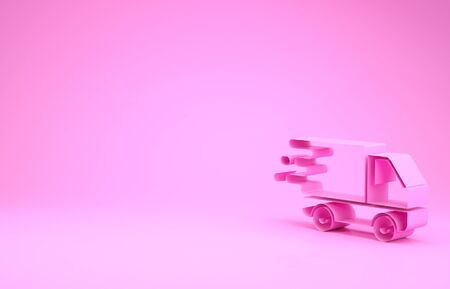 Pink Delivery truck in movement icon isolated on pink background. Fast shipping delivery truck. Minimalism concept. 3d illustration 3D render Stock Illustration - 132000525