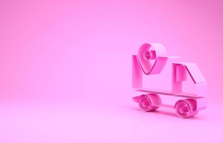 Pink Delivery tracking icon isolated on pink background. Parcel tracking. Minimalism concept. 3d illustration 3D render