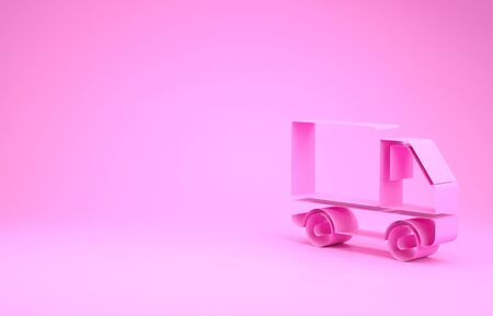 Pink Delivery cargo truck vehicle icon isolated on pink background. Minimalism concept. 3d illustration 3D render