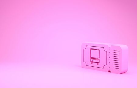 Pink Bus ticket icon isolated on pink background. Public transport ticket. Minimalism concept. 3d illustration 3D render