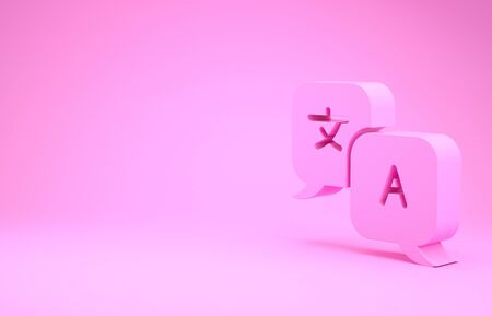 Pink Translator icon isolated on pink background. Foreign language conversation icons in chat speech bubble. Translating concept. Minimalism concept. 3d illustration 3D render Stok Fotoğraf
