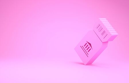 Pink Museum ticket icon isolated on pink background. History museum ticket coupon event admit exhibition excursion. Minimalism concept. 3d illustration 3D render