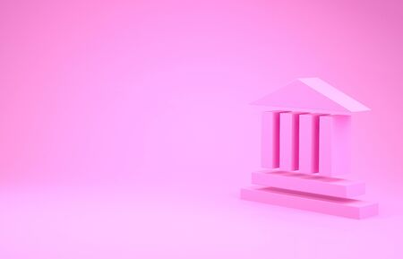 Pink Museum building icon isolated on pink background. Minimalism concept. 3d illustration 3D render