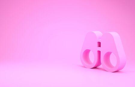 Pink Binoculars icon isolated on pink background. Find software sign. Spy equipment symbol. Minimalism concept. 3d illustration 3D render