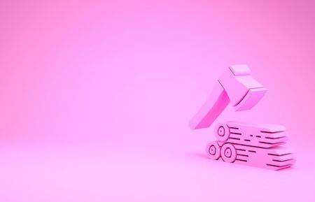 Pink Wooden axe and wood icon isolated on pink background. Lumberjack axe. Minimalism concept. 3d illustration 3D render Banco de Imagens