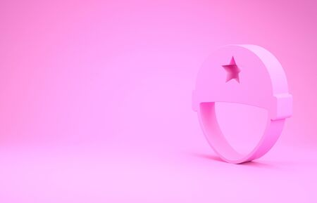 Pink Military helmet icon isolated on pink background. Army hat symbol of defense and protect. Protective hat. Minimalism concept. 3d illustration 3D render