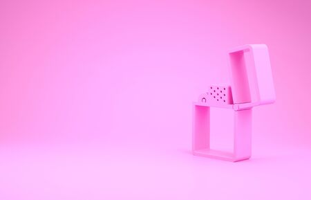 Pink Lighter icon isolated on pink background. Minimalism concept. 3d illustration 3D render
