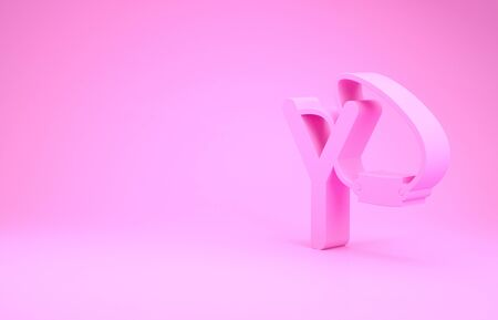 Pink Slingshot icon isolated on pink background. Minimalism concept. 3d illustration 3D render