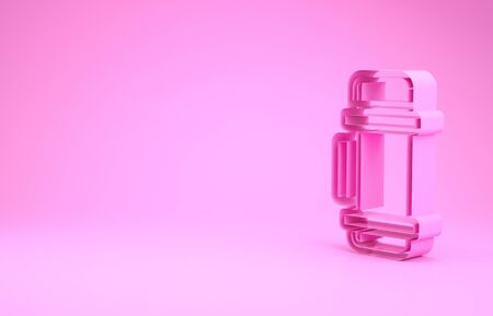 Pink Thermo container icon isolated on pink background. Thermo flask icon. Camping and hiking equipment. Minimalism concept. 3d illustration 3D render