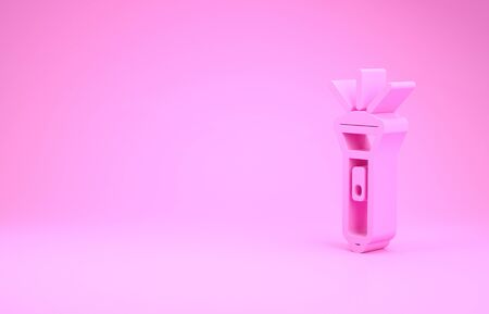 Pink Flashlight icon isolated on pink background. Minimalism concept. 3d illustration 3D render