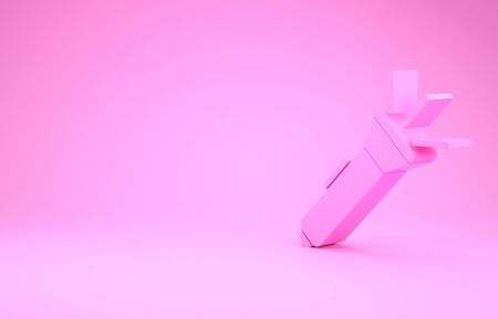 Pink Flashlight icon isolated on pink background. Minimalism concept. 3d illustration 3D render Imagens - 132105519