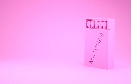 Pink Open matchbox and matches icon isolated on pink background. Minimalism concept. 3d illustration 3D render Imagens