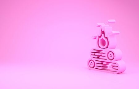Pink Campfire icon isolated on pink background. Burning bonfire with wood. Minimalism concept. 3d illustration 3D render