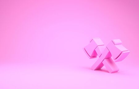 Pink Crossed wooden axe icon isolated on pink background. Lumberjack axe. Minimalism concept. 3d illustration 3D render