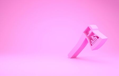 Pink Wooden axe icon isolated on pink background. Lumberjack axe. Minimalism concept. 3d illustration 3D render