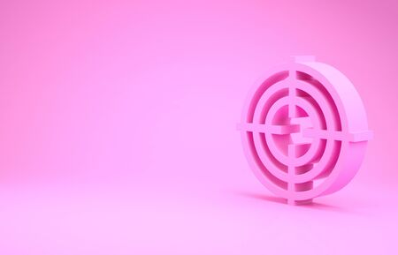 Pink Target sport for shooting competition icon isolated on pink background. Clean target with numbers for shooting range or shooting. Minimalism concept. 3d illustration 3D render