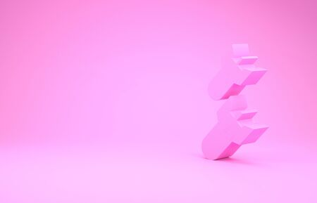 Pink Aviation bomb icon isolated on pink background. Rocket bomb flies down. Minimalism concept. 3d illustration 3D render