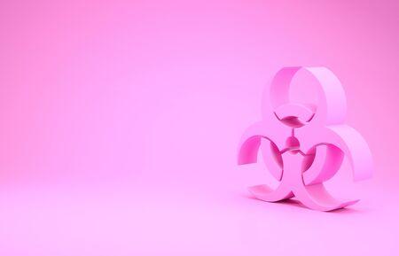 Pink Biohazard symbol icon isolated on pink background. Minimalism concept. 3d illustration 3D render