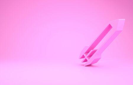 Pink Rocket icon isolated on pink background. Minimalism concept. 3d illustration 3D render Reklamní fotografie