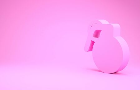 Pink Hand grenade icon isolated on pink background. Bomb explosion. Minimalism concept. 3d illustration 3D render