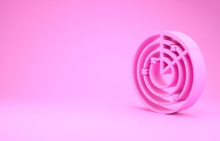 Pink Radar with targets on monitor in searching icon isolated on pink background. Military search system. Navy sonar. Minimalism concept. 3d illustration 3D render