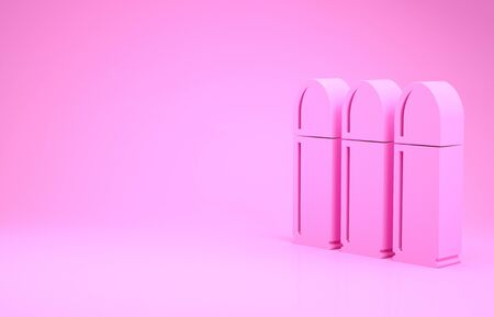 Pink Bullet icon isolated on pink background. Minimalism concept. 3d illustration 3D render
