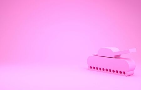 Pink Military tank icon isolated on pink background. Minimalism concept. 3d illustration 3D render Stockfoto