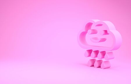 Pink Cloud with rain icon isolated on pink background. Rain cloud precipitation with rain drops. Minimalism concept. 3d illustration 3D render