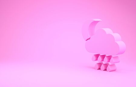 Pink Cloud with rain and moon icon isolated on pink background. Rain cloud precipitation with rain drops. Minimalism concept. 3d illustration 3D render Stock Photo