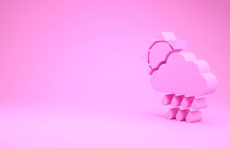 Pink Cloud with rain and sun icon isolated on pink background. Rain cloud precipitation with rain drops. Minimalism concept. 3d illustration 3D render Stock Photo