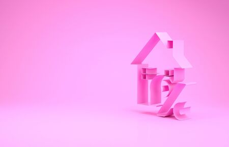 Pink House with percant discount tag icon isolated on pink background. House percentage sign price. Real estate home. Credit percentage symbol. Minimalism concept. 3d illustration 3D render Banco de Imagens