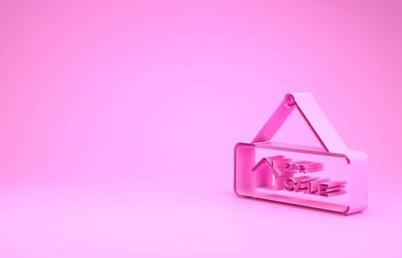 Pink Hanging sign with text For Sale icon isolated on pink background. Signboard with text For Sale. Minimalism concept. 3d illustration 3D render
