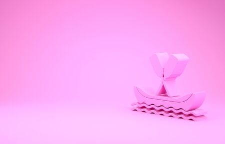 Pink Rafting boat icon isolated on pink background. Kayak with paddles. Water sports, extreme sports, holiday, vacation, team building. Minimalism concept. 3d illustration 3D render 写真素材 - 132005103