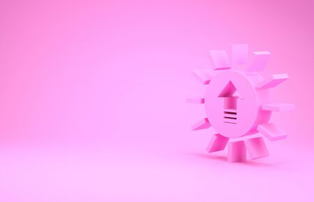 Pink Sunset icon isolated on pink background. Minimalism concept. 3d illustration 3D render