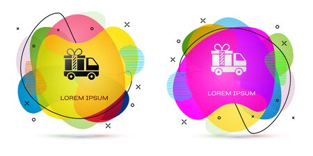Color Delivery truck with gift icon isolated on white background. Abstract banner with liquid shapes. Vector Illustration