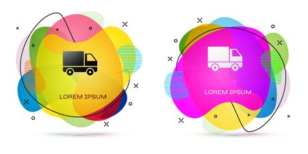 Color Delivery cargo truck vehicle icon isolated on white background. Abstract banner with liquid shapes. Vector Illustration