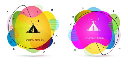 Color Tourist tent with flag icon isolated on white background. Camping symbol. Abstract banner with liquid shapes. Vector Illustration