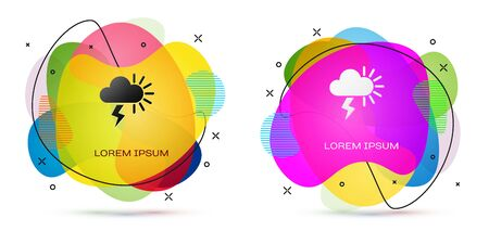 Color Storm icon isolated on white background. Cloudy with lightning and sun sign. Weather icon of storm. Abstract banner with liquid shapes. Vector Illustration