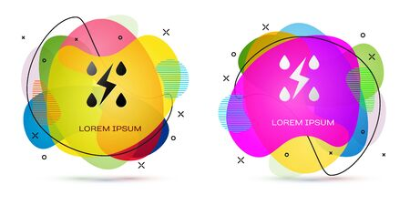 Color Storm icon isolated on white background. Drop and lightning sign. Weather icon of storm. Abstract banner with liquid shapes. Vector Illustration Illustration