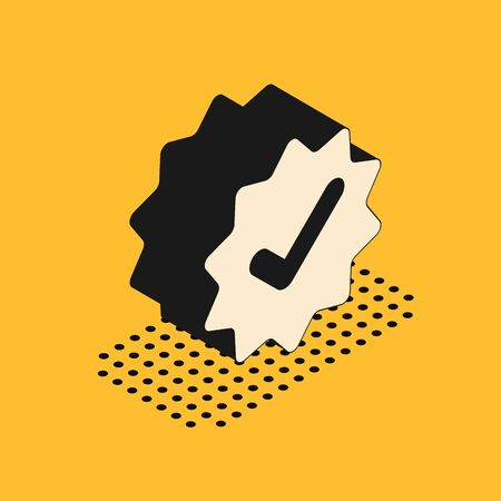 Isometric Approved or certified medal with ribbons and check mark icon isolated on yellow background. Vector Illustration Vettoriali