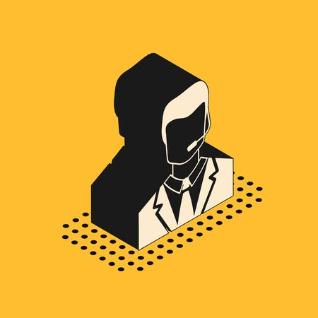 Isometric Man with a headset icon isolated on yellow background. Support operator in touch. Concept for call center, client support service. Vector Illustration