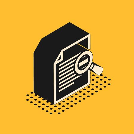 Isometric Document with search icon isolated on yellow background. File and magnifying glass icon. Analytics research sign. Vector Illustration
