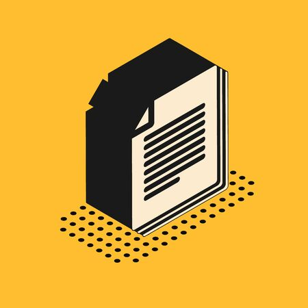 Isometric Document icon isolated on yellow background. File icon. Checklist icon. Business concept. Vector Illustration