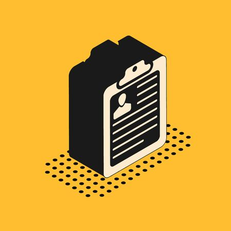 Isometric Clipboard with resume icon isolated on yellow background. CV application. Curriculum vitae, job application form with profile photo. Vector Illustration