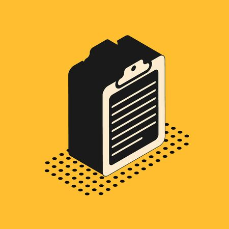 Isometric Clipboard with document icon isolated on yellow background. Vector Illustration