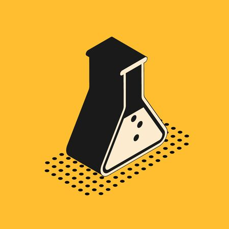 Isometric Test tube and flask - chemical laboratory test icon isolated on yellow background. Vector Illustration