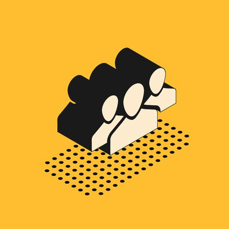 Isometric Users group icon isolated on yellow background. Group of people icon. Business avatar symbol - users profile icon. Vector Illustration