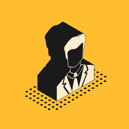 Isometric User of man in business suit icon isolated on yellow background. Business avatar symbol - user profile icon. Male user sign. Vector Illustration Illustration
